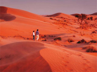 Couple walking in desert